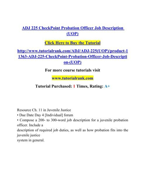 ADJ 225 CheckPoint Probation Officer Job Description (UOP)/ Tutorialrank