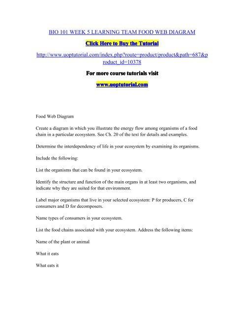 BIO 101 WEEK 5 LEARNING TEAM FOOD WEB DIAGRAM