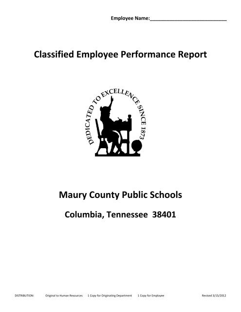 Classified Employee Performance Report Maury County Public Schools