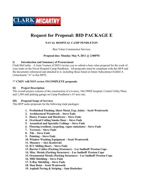 Request for Proposal BID PACKAGE E