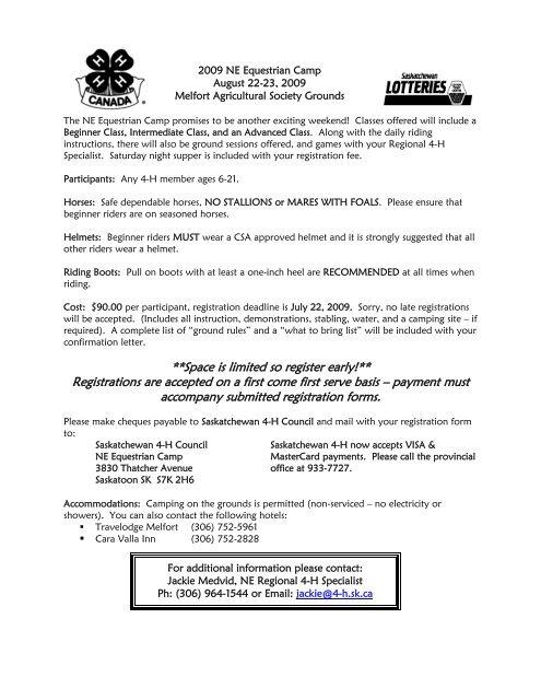 2009 NE Equestrian Camp Registration Formpdf - 4-H Saskatchewan