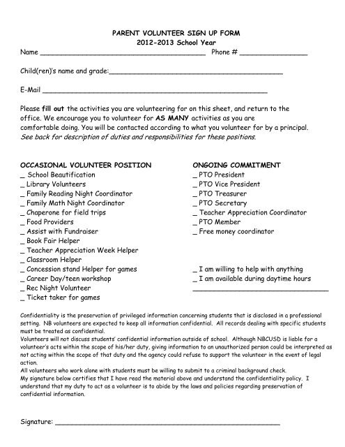 Parent Volunteer Form - North Boone School District #200