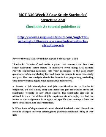 starbucks case analysis - Selol-ink
