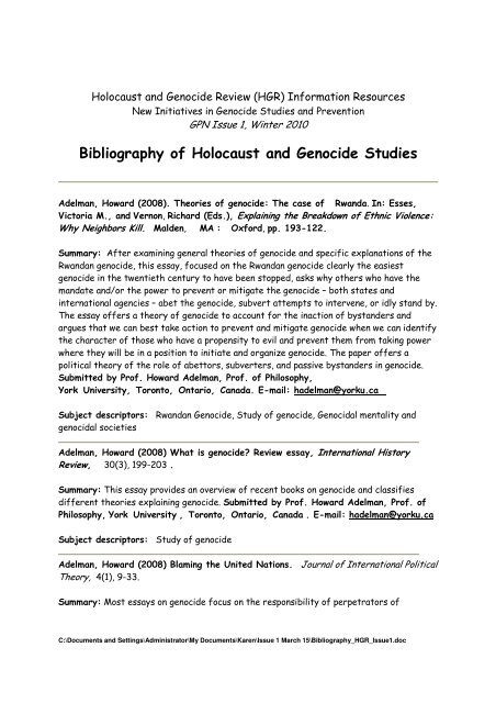 Bibliography of Holocaust and Genocide Studies
