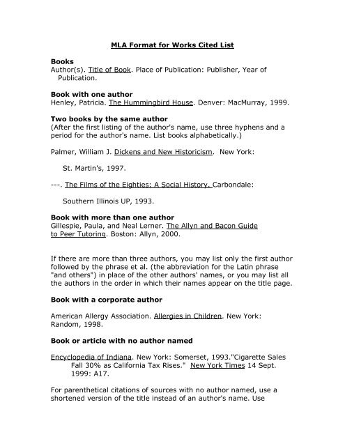 MLA Format for Works Cited List Books Author(s) Title of Book