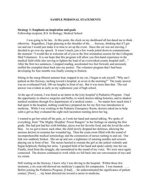 SAMPLE PERSONAL STATEMENTS Strategy 1 - Phi Kappa Phi