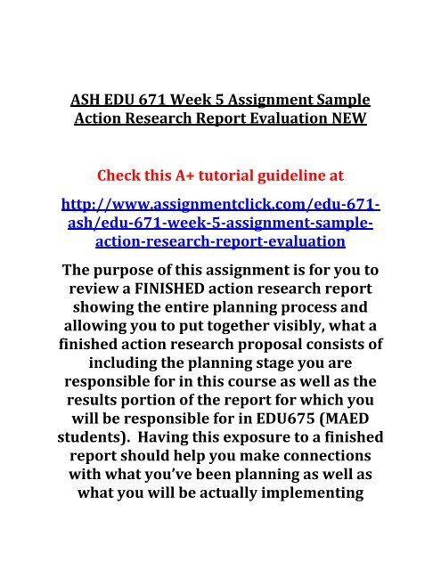 ASH EDU 671 Week 5 Assignment Sample Action Research Report