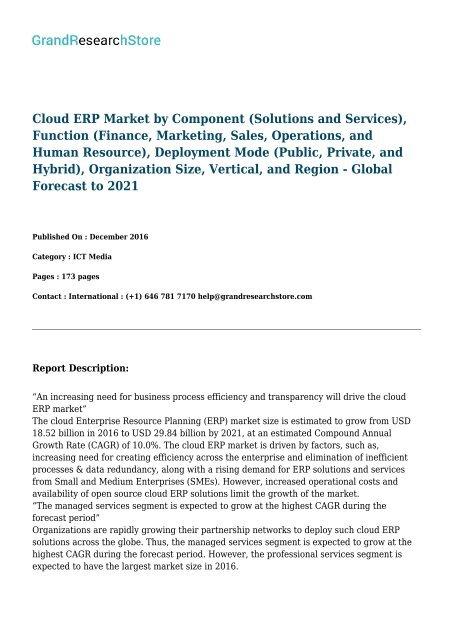 Cloud ERP Market by Component, Function, Deployment Mode