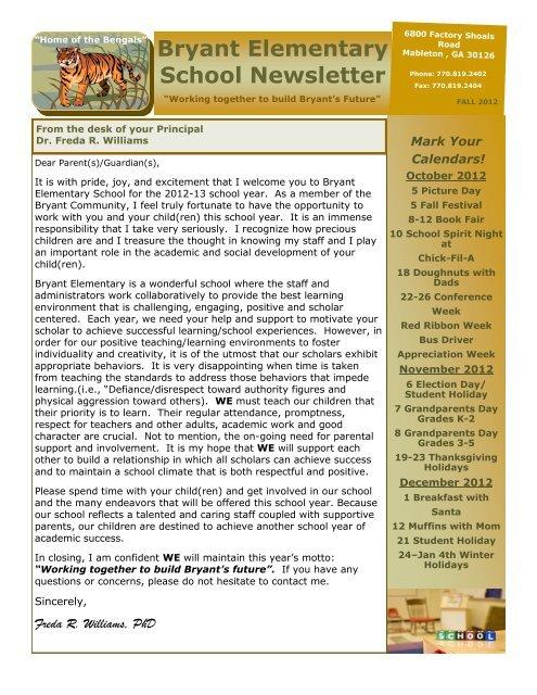 Bryant Elementary School Newsletter - Cobb County School District