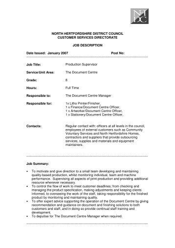 manufacturing supervisor job description