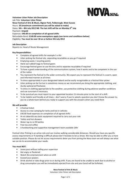Volunteer Litter Picker Job Description Job Title - Nova Festival