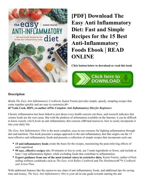 PDF Download The Easy Anti Inflammatory Diet Fast and Simple