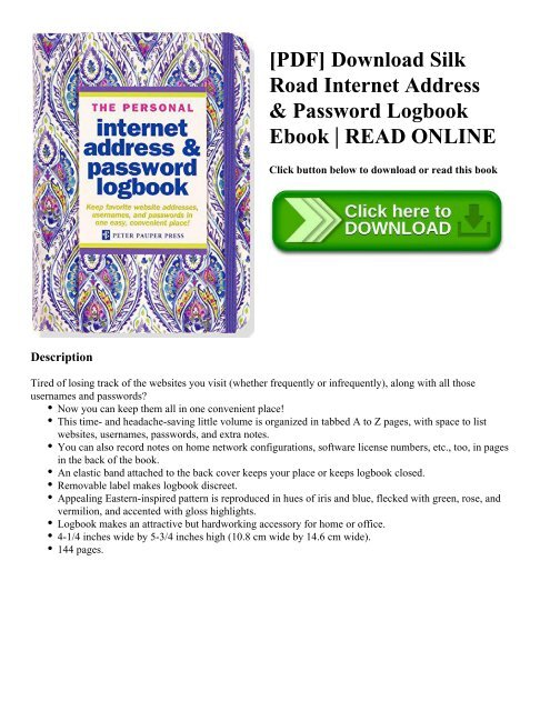 PDF Download Silk Road Internet Address  Password Logbook Ebook