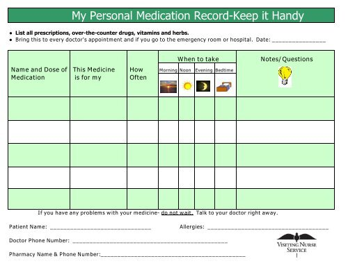 My Personal Medication Record-Keep it Handy