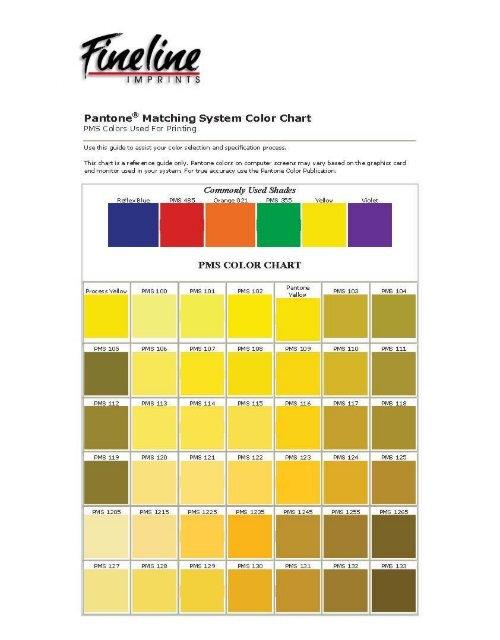 Pantone@ Matching System Color Chart PMS - Fineline Imprints