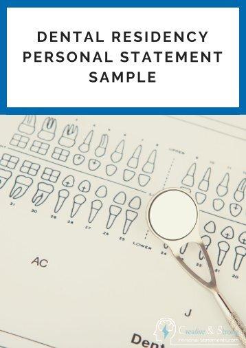 dental residency personal statement