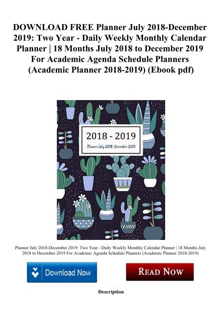 DOWNLOAD FREE Planner July 2018-December 2019 Two Year - Daily