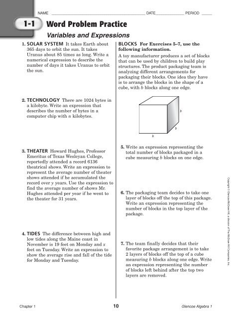 Word Problem Practice - McGraw-Hill Higher Education
