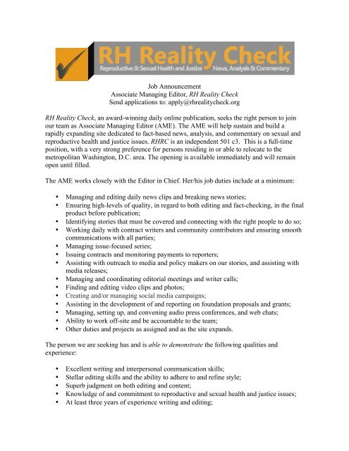 Job Announcement Associate Managing Editor, RH Reality Check