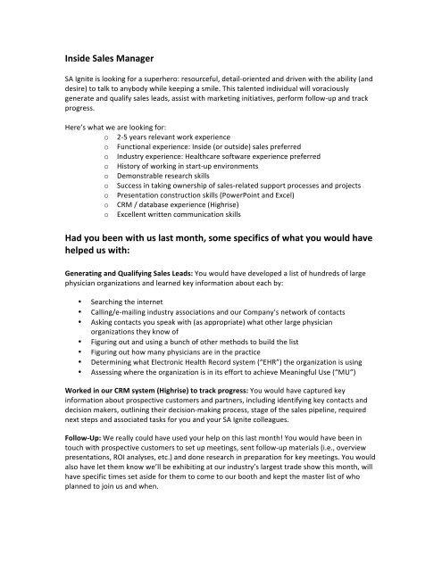 Job Description - Inside Sales Manager - SA Ignite