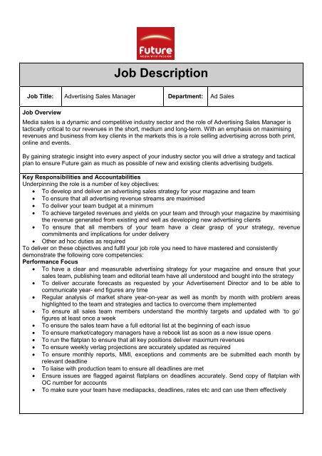 Job description - Advertising Sales Manager - Nov - Your Future Job