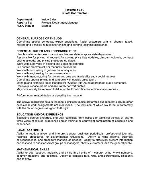 Flexitallic LP Quote Coordinator Department Inside Sales Reports
