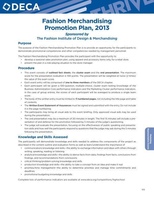 Deca fashion merchandising promotion plan example