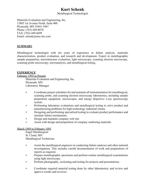 Resume - Kurt Schenk - Materials Evaluation and Engineering, Inc