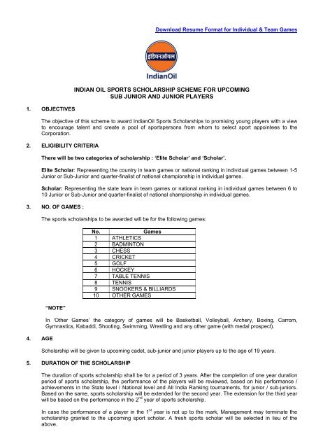 to Download Resume Format - Indian Oil Corporation Limited