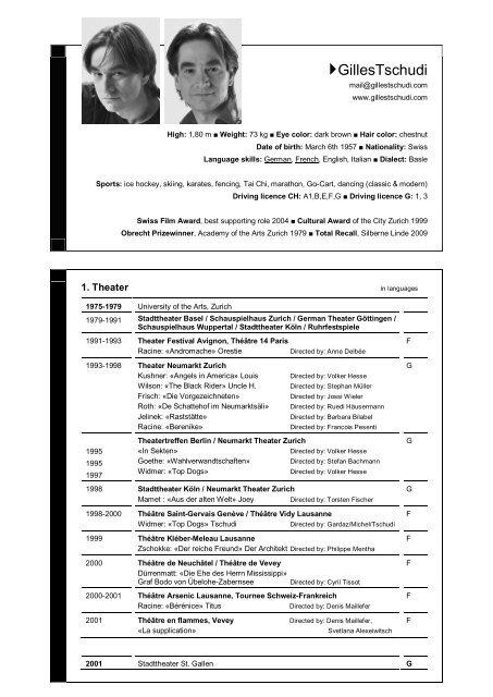 CV in English - Gilles Tschudi