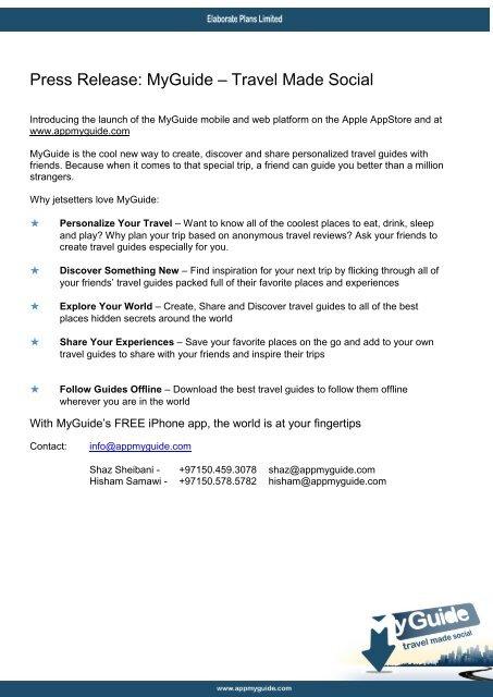 Press Release MyGuide \u2013 Travel Made Social