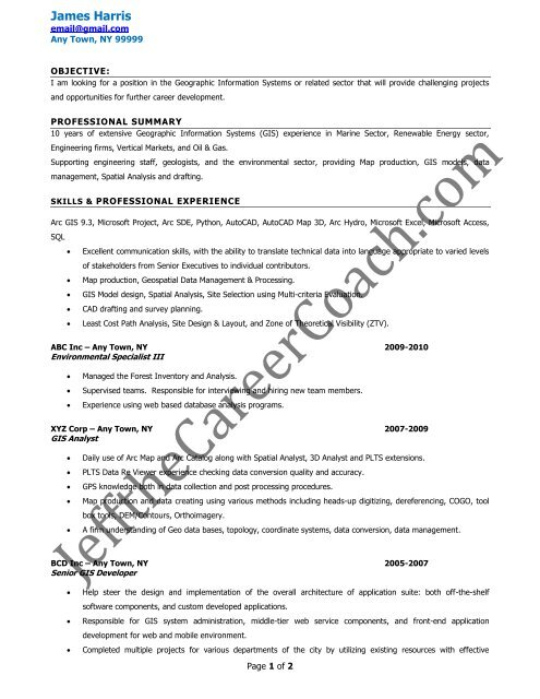 download the GIS Specialist Resume Sample - Jeffthecareercoach