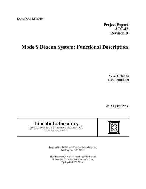 Mode S Beacon System Function Description, Revision D