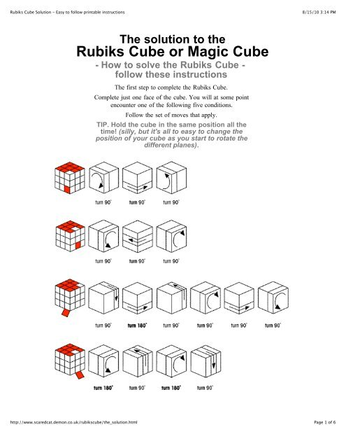 Rubiks Cube Solution - Easy to follow printable instructions