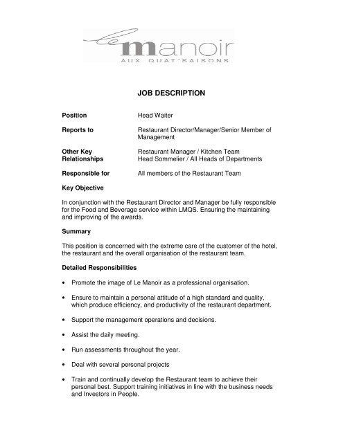 Head Waiter Job Description - Orient-Express