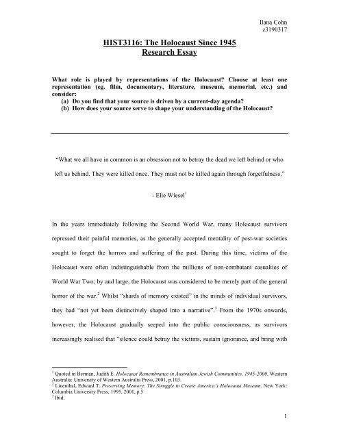 HIST3116 The Holocaust Since 1945 Research Essay - PHA NSW