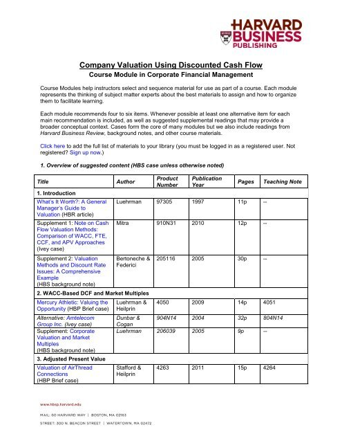 Company Valuation Using Discounted Cash Flow