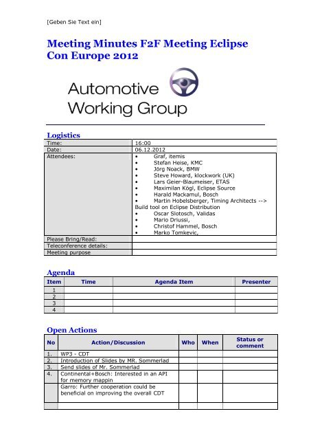 Meeting Agenda Template - Eclipse