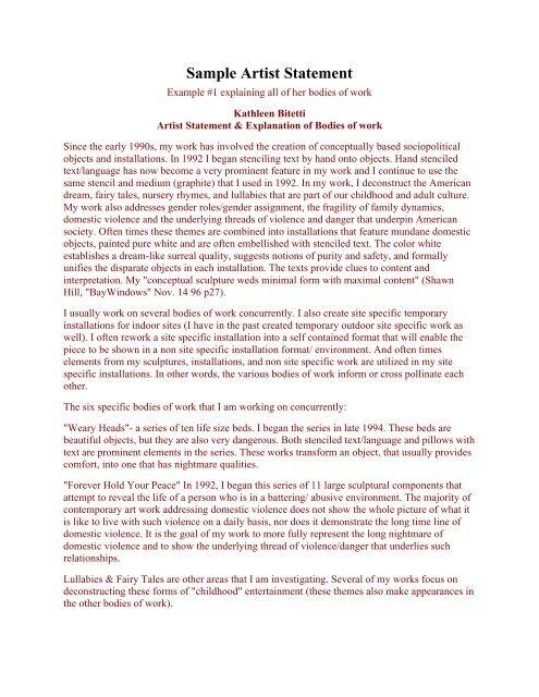 Sample Artist Statement - Montserrat College Of Art