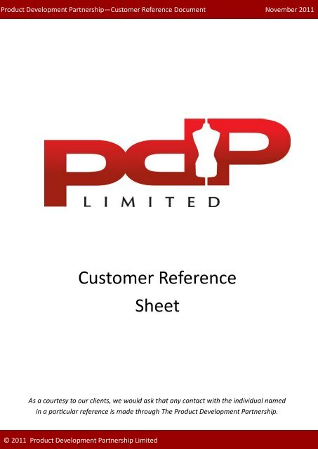 Customer Reference Sheet - PDP Limited