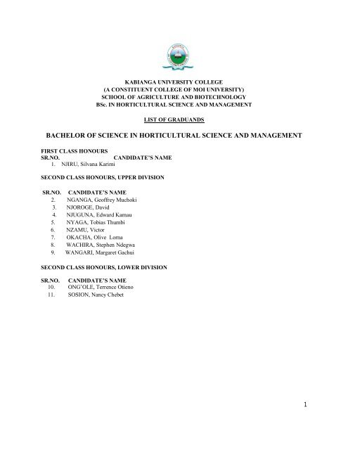 Graduation List - Kabianga University College