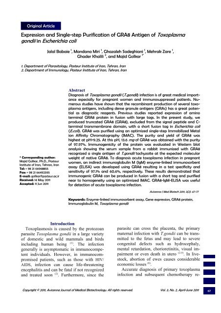 Full Text - PDF - Avicenna Journal of Medical Biotechnology
