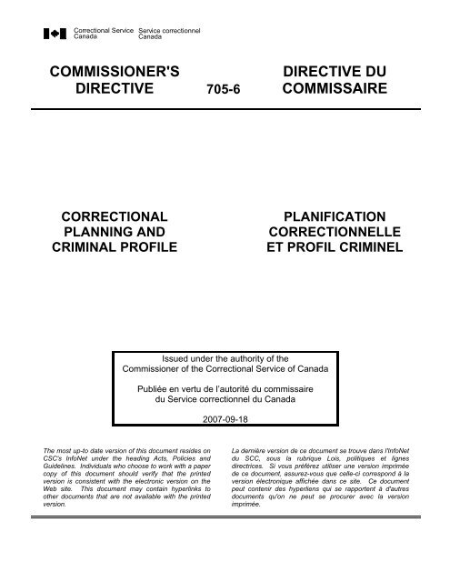 CD 705-6 - Correctional Planning and Criminal Profile - Service