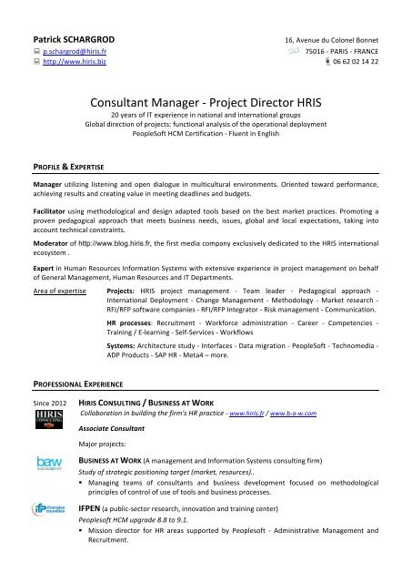 Updated resume - HRIS Consultant