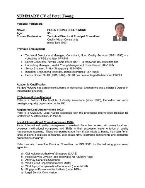 summary cv of peter foong - School of Economics - Singapore