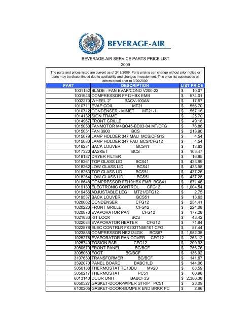 Beverage Air Mt38 Wiring Diagram Beverage Air Parts, Basic Ac