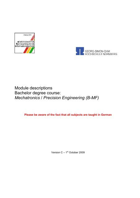 Module descriptions Bachelor degree course - Elektrotechnik