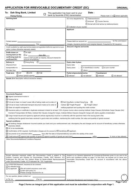 Application for Irrevocable Documentary Credit (DC)