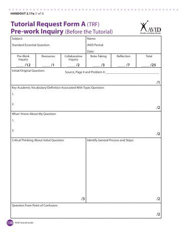 Trf Avid Tutorial Request Form Reflection Like SuccessTrf Form - avid tutorial request form