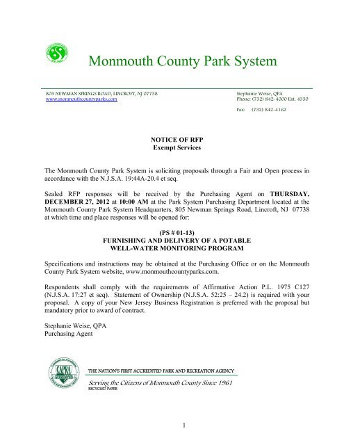 proposal forms checklist (ps #01-13) - Monmouth County Park System